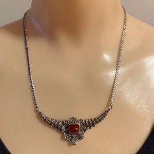 Vintage Art Deco Silver Marcasite Necklace